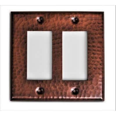 Pure Hand Hammered Double Rocker Wall Plate, Copper