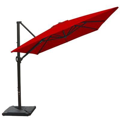 8 ft. x 10 ft. Rectangular Cantilever Push Tilt Patio Umbrella in Dark Red