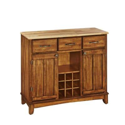 Cottage Oak and Natural Buffet with Wine Storage