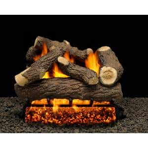 Cordoba 24 in. Vented Natural Gas Fireplace Logs, Complete Set with Manual Safety Pilot Kit