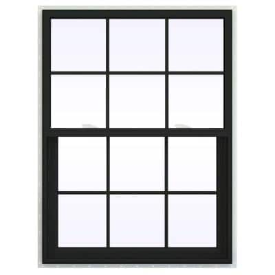 36 in. x 54 in. V-2500 Series Bronze FiniShield Vinyl Single Hung Window with Colonial Grids/Grilles