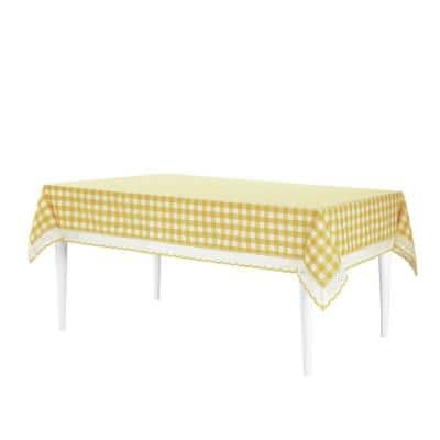 Buffalo Check 60 in. W x 104 in. L Yellow Checkered Polyester/Cotton Rectangular Tablecloth