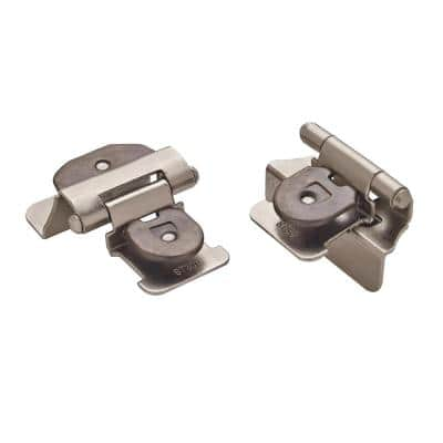 Satin Nickel Partial Overlay Double Demountable Cabinet Hinge (2-Pack)