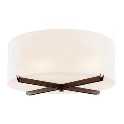 Acryluxe Crossbar 24 in.6-Light Dark Bronze Close-to-Ceiling Drum Flush Mount with Opal Acrylic Shade