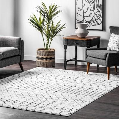 Blythe White and Black 8 ft. 10 in. x 12 ft. Moroccan Indoor Area Rug