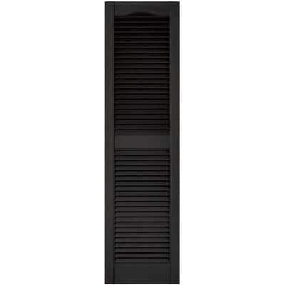 14.5 in. x 55 in. Louvered Vinyl Exterior Shutters Pair in Black