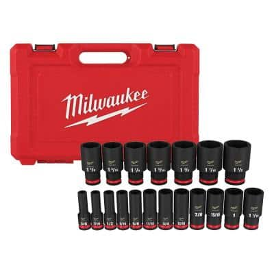 SHOCKWAVE 1/2 in. Drive SAE 6 Point Impact Socket Set (19-Piece)
