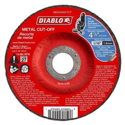 4-1/2 in. x 1/16 in. x 7/8 in. Metal Cut-Off Disc with Type 27 Depressed Center (10-Pack)
