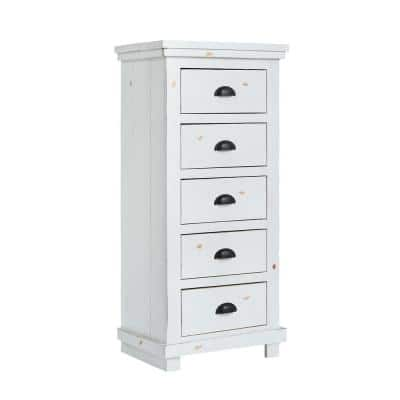 Willow 5-Drawer Distressed White Lingerie Chest of Drawers