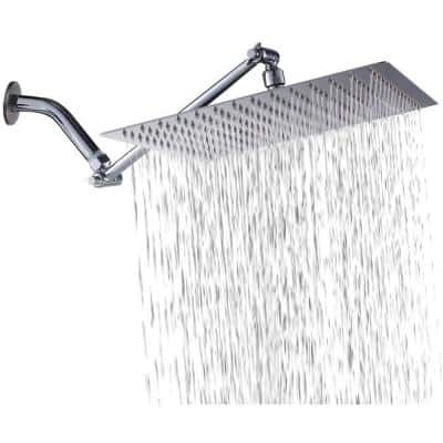 1-Spray Patterns 12 in. Wall Mount Rainfall Fixed Shower Head with Solid Brass  Adjustable Extension Arm in Chrome