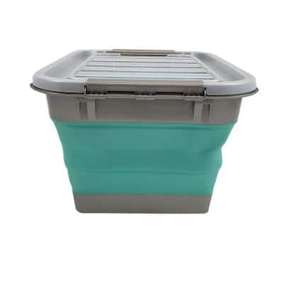 Store N Stow 17-Gal. Collapsible Storage Container with Wheels in. Grey and Teal Base with Clear Lid (4-Pack)