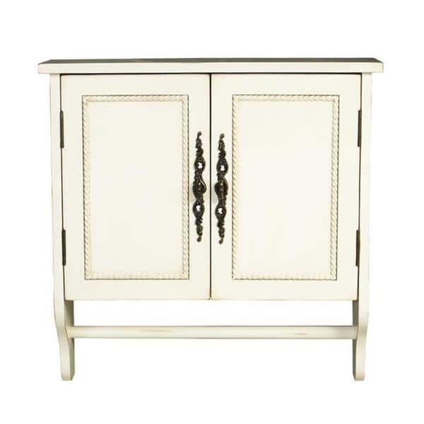 Home Decorators Collection Chelsea 24 In W X 24 In H X 8 In D Bathroom Storage Wall Cabinet With Towel Bar In Antique White 1589400410 The Home Depot