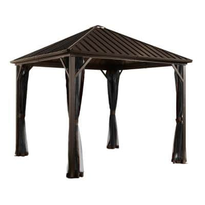 8 ft. D x 8 ft. W Dakota Aluminum Gazebo with Galvanized Steel Roof Panels, 2-Track System, and Mosquito Netting