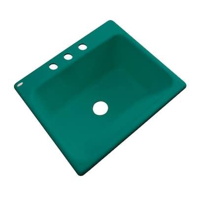 Kensington Drop-In Acrylic 25 in. 3-Hole Single Bowl Utility Sink in Verde