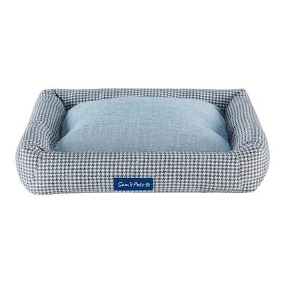 Arlo Medium Blue Plaid Bolster Dog Bed