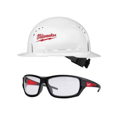 BOLT White Type 1 Class C Full Brim Vented Hard Hat with Performance Safety Glasses with Clear Lenses