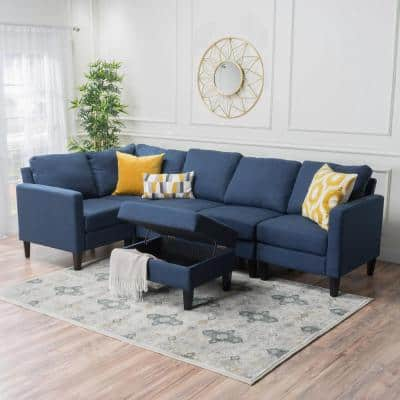 6-Piece Dark Blue Polyester 4-Seater L-Shaped Sectional Sofa with Ottoman
