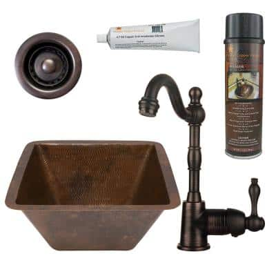 Bronze 16 Gauge Copper 15 in. Dual Mount Square Bar Sink with Faucet and 2 in. Strainer Drain