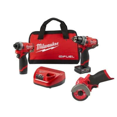 M12 FUEL 12-Volt Lithium-Ion Brushless Cordless Hammer Drill and Impact Driver Combo Kit (2-Tool) W/ Cut Off Saw