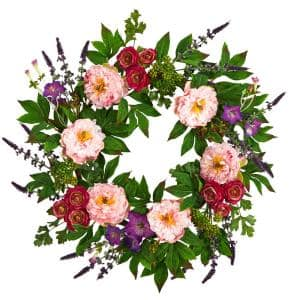 22 in. Assorted Peony Artificial Wreath
