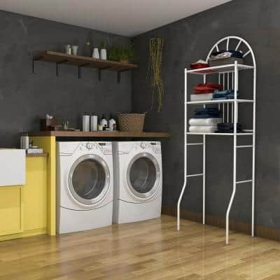 3-Shelves Freestanding Bathroom Storage Towel Rack with in White