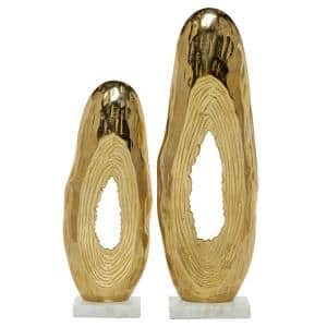 Tall Abstract Gold Metal Tree Trunk Sculptures on Marble Bases 14 in., 21 in. (Set of 2)