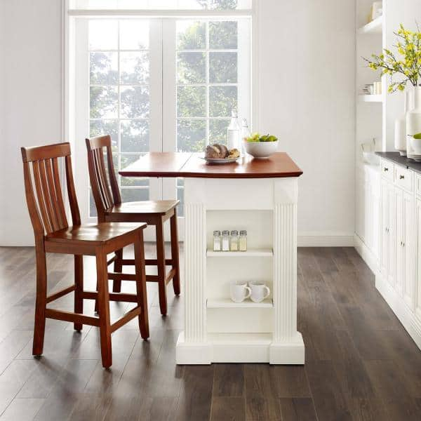 Crosley Furniture Coventry White Drop Leaf Kitchen Island With School House Stools Kf300072wh The Home Depot