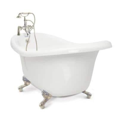 Chelsea 60 in. Acrylic Slipper Clawfoot Bathtub Package in White with Satin Nickel Imperial Feet and Deck Mount Faucet