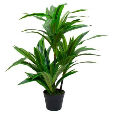 37 in. Green Artificial Dracaena Potted Plant