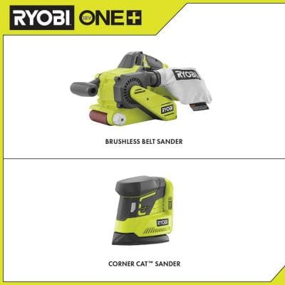 ONE+ 18V Cordless Brushless Belt Sander with Dust Bag and Corner Cat Sander with Sample Sandpaper (Tools Only)