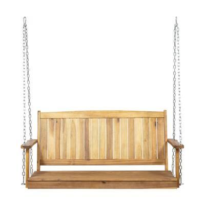 Tambora 47.75 in. 2-Person Teak Brown Wood Porch Swing