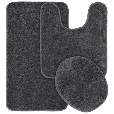 Gramercy Cinder Gray Solid Polypropylene 3-Piece Bath Mat Set