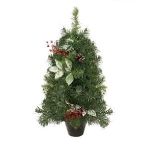 2 ft. Unlit Medium Potted Pre-Decorated Frosted Pine Cone and Berry Artificial Christmas Tree