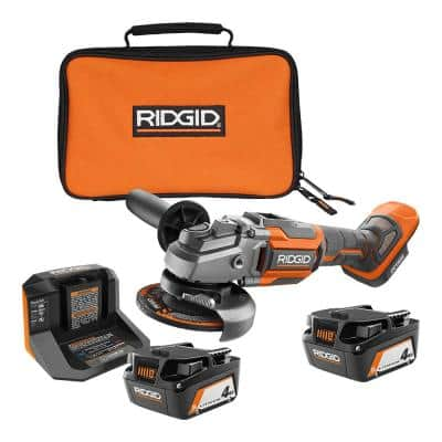 18V OCTANE Cordless Brushless 4-1/2 in. Angle Grinder with Accessories, (2) 4.0 Ah Batteries, Charger, and Bag