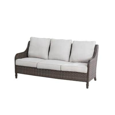 Windsor Brown Wicker Outdoor Patio Sofa with CushionGuard Biscuit Tan Cushions