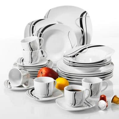 Fiona 30-Piece Casual Ivory White with Black Stripes Porcelain Dinnerware Set (Service for 6)