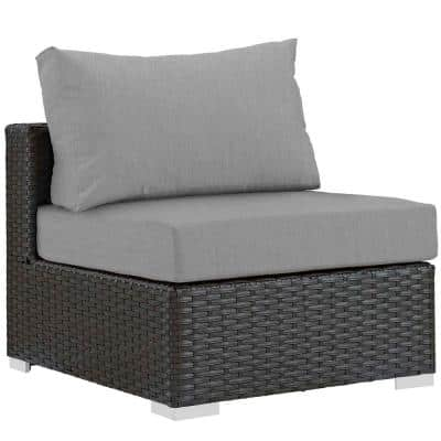Sojourn Patio Fabric Sunbrella Wicker Armless Middle Outdoor Sectional Chair with Canvas Gray Cushions