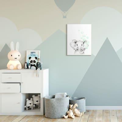 "12 in. x 18 in. ""Cute Cartoon Baby Elephant Zoo Painting"" by Studio Q Wood Wall Art"