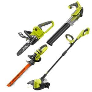 ONE+ 18V Cordless String Trimmer/Edger, Jet Fan Leaf Blower, Hedge Trimmer and Chainsaw (Tools Only)