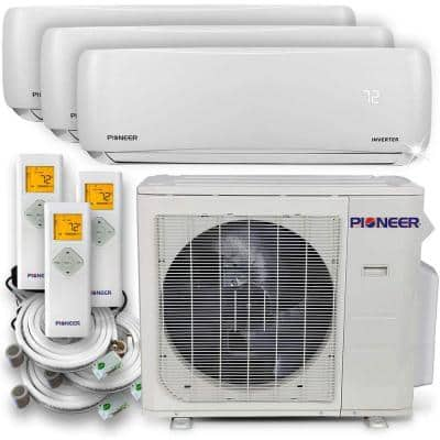 Multi 36,000 BTU 3 Ton 22 SEER Triple (3) Zone Wall Mount Air Conditioner Heat Pump, 230-Volt 16 ft.
