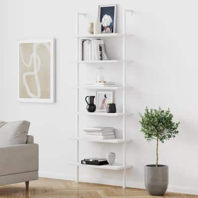 Theo 85 in. Matte White Reclaimed Wood 6-Shelf Tall Ladder Bookshelf Wall Mount Bookcase with White Metal Frame