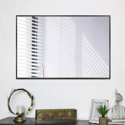 Medium Rectangle Black Shelves & Drawers Modern Mirror (36 in. H x 24 in. W)