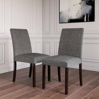 Linen Gray/Dark Pine Upholstered Parsons Chairs (Set of 2)