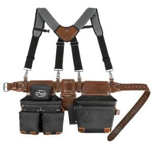 Leather Hybrid Weather-Resistant Tool Belt with Suspenders in Black