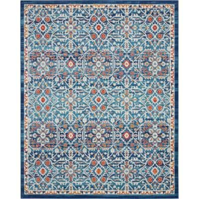 Passion Blue/Multicolor 8 ft. x 10 ft. Persian Vintage Area Rug
