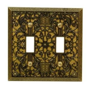 Filigree 2 Gang Toggle Metal Wall Plate - Antique Brass