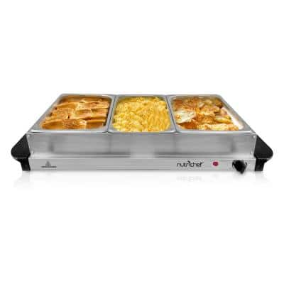 3-Burner 15 in. Stainless Steel Food Warming Tray / Buffet Server / Hot Plate