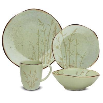 RYO 16-Piece Casual Green Porcelain Dinnerware Set (Service for 4)