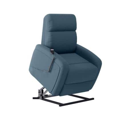 Caribbean Blue Velour Fabric Tufted Power Lift Recliner
