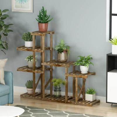 6-Tiers 9-Pots Outdoor Indoor Bamboo Wood Plant Stand Garden Flower Pot Plant Holder